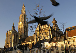 ANTWERP , BELGIUM - JAN-11-2003 -The Antwerp Cathedral with its 400 foot high tower is the largest Gothic church in Belgium. Construction began in 1352 and finished in 1521. (PHOTO © JOCK FISTICK)