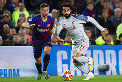 May 1, 2019 - Barcelona, Catalonia, Spain - May 1, 2019 - Barcelona, Spain - Uefa Champions League 1/2 of final second leg, FC Barcelona v Liverpool FC: Mohamed Salah of Liverpool FCchallenges for the ball against Clement Lenglet of FC Barcelona. (Credit Image: © Marc Dominguez/ZUMA Wire)