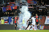 FOOTBALL - FRENCH CHAMPIONSHIP 2011/2012 - L1 - AJ AUXERRE v PARIS SAINT GERMAIN  - 15/04/2012 - PHOTO JEAN MARIE HERVIO / REGAMEDIA / DPPI - PSG FANS SEND FIREWORKS ON THE PITCH