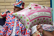 London, UK. Saturday 20th July 2013. Royalists gather opposite the Lindo Wing of St Mary's Hospital, where Kate Middleton, Duchess of Cambridge is due to give birth. Some have been camping out for up to two weeks prior to the expectant birth of the Royal baby.