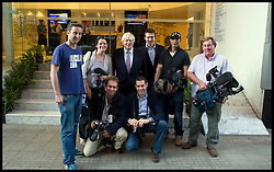 London Mayor Boris Johnson with the Press Pack in India, Thursday November 29, 2012. Photo by Andrew Parsons / i-Images