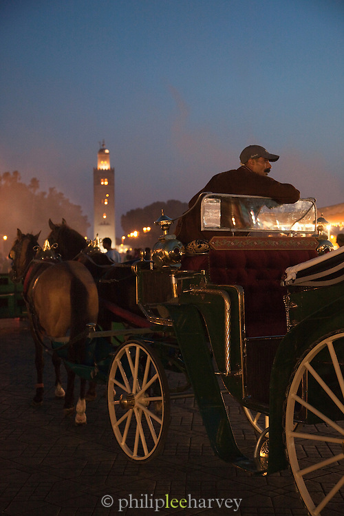 A man with horse and cart offers rides to tourists in the evening at the Djemaa el Fna in the medina of Marrakech, Morocco