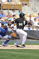 GLENDALE, AZ - MARCH 5:  Jared Mitchell #80 of the Chicago White Sox bats against the Los Angeles Dodgers on March 5, 2010 at The Ballpark at Camelback Ranch in Glendale, Arizona. (Photo by Ron Vesely)
