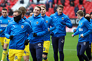 AFC Wimbledon striker Joe Pigott (39) warming up prior to kick off during the EFL Sky Bet League 1 match between Charlton Athletic and AFC Wimbledon at The Valley, London, England on 12 December 2020.