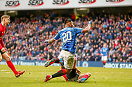 Goal! Alfredo Morelos scores the equaliser for Rangers during the Ladbrokes Scottish Premiership match between Rangers and Kilmarnock at Ibrox, Glasgow, Scotland on 16 March 2019.