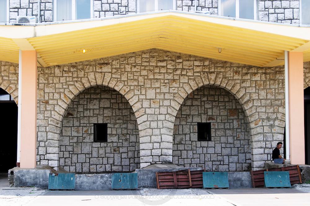 The winery building. The grape reception area where the harvest is delivered. Vinarija Citluk winery in Citluk near Mostar, part of Hercegovina Vino, Mostar. Federation Bosne i Hercegovine. Bosnia Herzegovina, Europe.