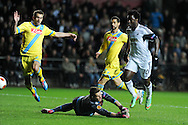 Swansea city's Wilfried Bony ® has a shot saved by Napoli goalkeeper  Rafael Cabral. UEFA Europa league match , Swansea city v Napoli at the Liberty Stadium in Swansea, South Wales on Thursday 20th Feb 2014. pic by Andrew Orchard, Andrew Orchard sports photography.