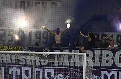 Viole, Maribor supporters during football match between NK Maribor and NK Bravo in 7th Round of Prva liga Telekom Slovenije 2019/20, on August 25, 2019 in Ljudski vrt, Maribor, Slovenia. Photo by Milos Vujinovic / Sportida