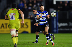 Adam Hastings of Bath Rugby receives the ball - Mandatory byline: Patrick Khachfe/JMP - 07966 386802 - 04/11/2016 - RUGBY UNION - The Recreation Ground - Bath, England - Bath Rugby v Leicester Tigers - Anglo-Welsh Cup.