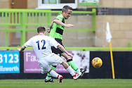 Trevor Horsley XI George Price tackles Forest Green Legends Alex Sykes and gives away a penalty during the Trevor Horsley Memorial Match held at the New Lawn, Forest Green, United Kingdom on 19 May 2019.