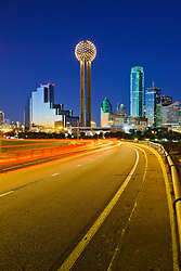 Evening view of downtown Dallas from I-30 to I-35 overpass, Texas, USA.