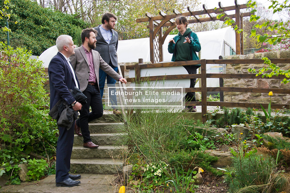 Pictured: Mark Ruskell, Josiah Lockhart, Gorgie City Farm Chief Executive,  Dan Heal, Sarah Campbell, Development and fundraising manager <br /> Scottish Greens on local election campaign trail. Mark Ruskell MSP, the party's environment spokesperson, joined candidate for the Sighthill/Gorgie ward Dan Heap on a visit to Gorgie city farm. The pair met Chief executive of the farm, Josiah Lockhart and Development and fundraising manager, Sarah Campbell during their tour.<br /> <br /> <br /> Ger Harley | EEm 19 April 2017