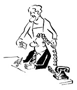 (A secretary, using a telephone cable, shows her boss what he would look like if he had curly hair)
