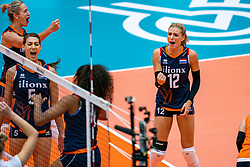 02-08-2019 ITA: FIVB Tokyo Volleyball Qualification 2019 / Belgium - Netherlands, Catania<br /> 1e match pool F in hall Pala Catania between Belgium - Netherlands. Netherlands win 3-0 / (L-R) Maret Balkestein-Grothues #6 of Netherlands, Robin de Kruijf #5 of Netherlands, Celeste Plak #4 of Netherlands, Britt Bongaerts #12 of Netherlands