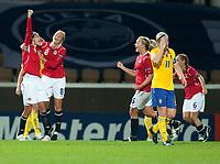 Fotball<br /> Semifinale EM kvinner 2009<br /> 04.09.2009<br /> Sverige v Norge<br /> Foto: Jussi Eskola/Digitalsport<br /> NORWAY ONLY<br /> <br /> Ingvild Stensland, Solveig Guldbrandsen