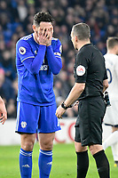 Football - 2018 / 2019 Premier League - Cardiff City vs. Everton<br /> <br /> Sean Morrison Cardiff City with hands on face in front of referee Kevin Friend at Cardiff City Stadium.<br /> <br /> COLORSPORT/WINSTON BYNORTH