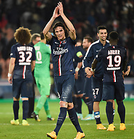 Uruguayan forward Edinson Cavani of Paris Saint Germain celebrates the victory at the end of the French Championship Ligue 1 football match between Paris Saint Germain and Olympique de Marseille on November 9, 2014 at Parc des Princes stadium in Paris, France. Photo Jean Marie Hervio / Regamedia / DPPI