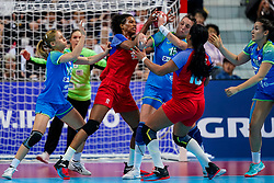 05-12-2019 JAP: Cuba - Slovenia, Kumamoto<br /> Fourth match groep A at 24th IHF Women's Handball World Championship. Slovenia win 39 - 26 of Cuba / Polona Baric #13 of Slovenia, Yunisleidy Camejo Rodriguez #11 of Cuba, Teja Ferfolja #15 of Slovenia, Lorena Aide Tellez Delgado #18 of Cuba