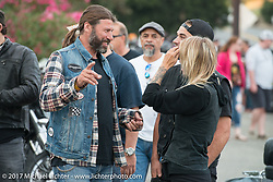 Roland Stocker with Preston Burroughs and Leticia Cline at the Friday night pre-party at Cooks Corner before the start of the Born Free 9 Motorcycle Show. Costa Mesa, CA. USA. June 23, 2017. Photography ©2017 Michael Lichter.