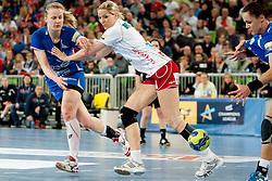 Barbara Lazovic-Verlec #15 of Krim during handball match between RK Krim Mercator (SLO) and Larvik HK (NOR) in second game of semi final of EHF Women's Champions League 2012/13 on April 13, 2013 in Arena Stozice, Ljubljana, Slovenia. (Photo By Urban Urbanc / Sportida).