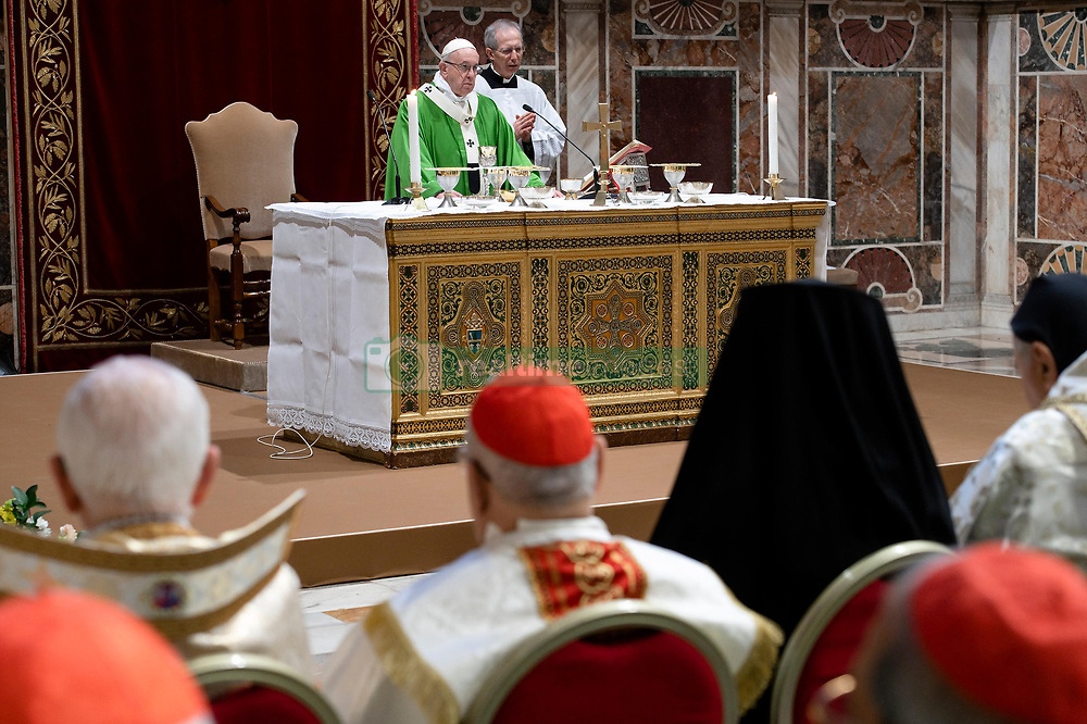 Pope Francis attends a closing Mass of 'The Protection Of Minors In The Church' meeting at the Regia Hall at the Apostolic Palace, Vatican on February 24, 2019. Pope Francis ended his conference on the sexual abuse of children by clergy by calling for an 'all-out battle' against a crime that should be 'erased from the face of the earth'. Photo by ABACAPRESS.COM