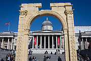 The scale replica of Palmyras 2,000 year-old Arch of Triumph in Londons Trafalgar Square on 20th April 2016. The 1,800-year-old arch was destroyed by Islamic State militants in October 2015 and the 6-metre 20ft model, made in Italy from Egyptian marble, is intended as an act of defiance: to show that restoration of the ancient site is possible if the will is there. Reconstructed by the Institute of Digital Archaeology IDA using 3D technology, it will travel to cities around the world after leaving London. .