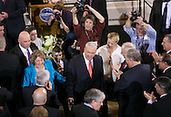 Boston, MA 03/28/2013<br /> Boston Mayor Thomas M. Menino departs Faneuil Hall after announcing that he will not seek re-election on Thursday, bringing his 20-year term as Mayor to an end.