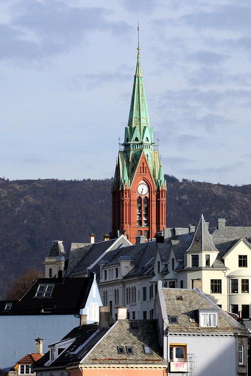 The tower and spire of Johanneskirken, St. John's Church, Bergen, Norway.