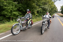 A pair of 1915 Harley-Davidson cross the country. Steve Decosa (L) of New York riding beside Ben Brown of Pennsylvania during the during the Motorcycle Cannonball Race of the Century. Day-4 ride from Bloomington, IN to Cape Girardeau, MO. USA. Wednesday September 14, 2016. Photography ©2016 Michael Lichter.