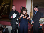 FENELLA FIELDING, Literary Review Christmas drinks and  Bad Sex in fiction Awards, In and Out club. St. James's Sq. London. 30 November 2017