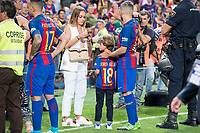 FC Barcelona's defender Jordi Alba with his girlfriend Romarey Ventura after Copa del Rey (King's Cup) Final between Deportivo Alaves and FC Barcelona at Vicente Calderon Stadium in Madrid, May 27, 2017. Spain.<br /> (ALTERPHOTOS/BorjaB.Hojas)