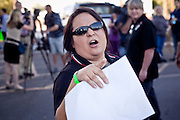 Nov. 9, 2009 -- PHOENIX, AZ: A UFCW Local 99 member and union supporter shouts at members of the public who oppose an expected UFCW Local 99 strike against Fry's and Safeway. Members of the United Food and Commercial Workers Union (UFCW) Local 99, based in Phoenix, AZ, is expected to go on strike against Fry's and Safeway grocery stores in Arizona on Friday, Nov. 13. The key sticking point in negotiations, which have broken down, is health care. Currently union members get health coverage for free, the grocery chains want to charge $5.00 per month. The stores have started hiring non-union replacement workers In anticipation of the strike. Unemployment in Arizona is around 10 percent and many union members have now come out against a strike fearing they could lose their jobs.    Photo by Jack Kurtz