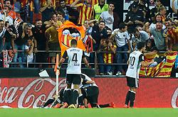 October 21, 2017 - Valencia, Valencia, Spain - Valencia CF players celebrates after scoring a goal during the La Liga match between Valencia CF and Sevilla FC at Estadio Mestalla, on october 21, 2017 in Valencia, Spain. (Credit Image: © Maria Jose Segovia/NurPhoto via ZUMA Press)
