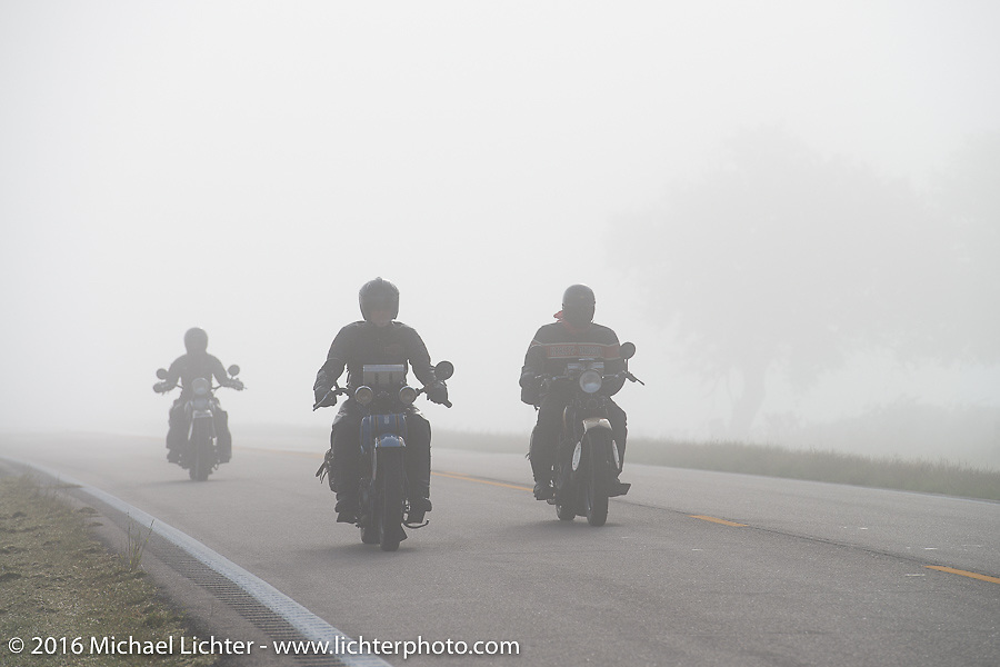 "Pat Simmons of the Doobie Brothers riding his 1929 Harley-Davidson JD through the fog alongside Robert Gustavsson or ""Big Swede"" as he is fondly known, riding his 1931 Harley-Davidson VL during Stage 8 of the Motorcycle Cannonball Cross-Country Endurance Run, which on this day ran from Junction City, KS to Burlington, CO., USA. Saturday, September 13, 2014.  Photography ©2014 Michael Lichter."