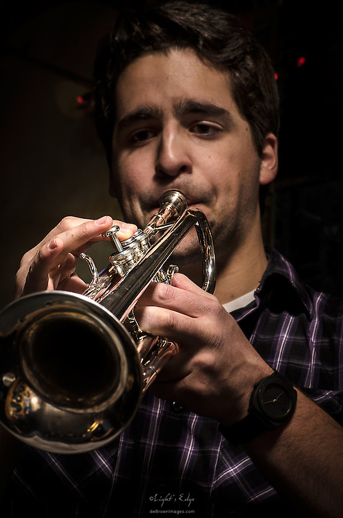 Matt Salazar, working his trumpet, while performing with Scott McClatchy at The Bus Stop Music Cafe in Pitman,NJ.