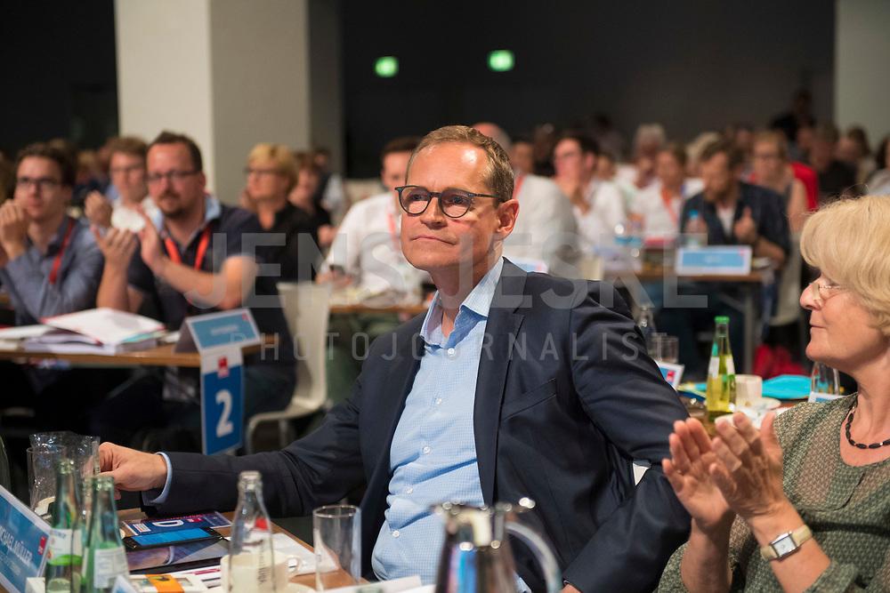 DEU, Deutschland, Germany, Berlin, 02.06.2018: Landesparteitag der Berliner SPD im Hotel Andels. Michael Müller, SPD-Landesvorsitzender und Regierender Bürgermeister von Berlin, nach seiner Wahl zum Landesvorsitzenden.