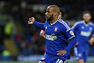 David McGoldrick of Ipswich in action.<br /> <br /> Skybet Football League Championship match, Cardiff City v Ipswich Town at the Cardiff city stadium in Cardiff, South Wales on Tuesday 21st October 2014<br /> pic by Mark Hawkins, Andrew Orchard sports photography.