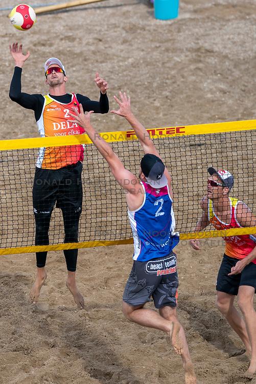 Robert Meeuwsen, Alexander Brouwer in action. The DELA NK Beach volleyball for men and women will be played in The Hague Beach Stadium on the beach of Scheveningen on 22 July 2020 in Zaandam.