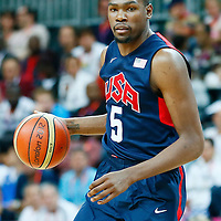 06 August 2012: USA Kevin Durant is seen during 126-97 Team USA victory over Team Argentina, during the men's basketball preliminary, at the Basketball Arena, in London, Great Britain.