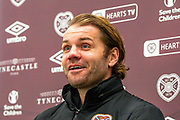 Heart of Midlothian manager Robbie Neilson smiles as he speaks to the media during the Heart of Midlothian press conference and training session at Oriam Sports Performance Centre, Edinburgh, Scotland on 23 November 2020.