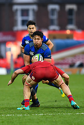 Kazuki Himeno of Japan is tackled by Vitaly Zhivatov of Russia <br /> <br /> Photographer Craig Thomas<br /> <br /> Japan v Russia<br /> <br /> World Copyright ©  2018 Replay images. All rights reserved. 15 Foundry Road, Risca, Newport, NP11 6AL - Tel: +44 (0) 7557115724 - craig@replayimages.co.uk - www.replayimages.co.uk