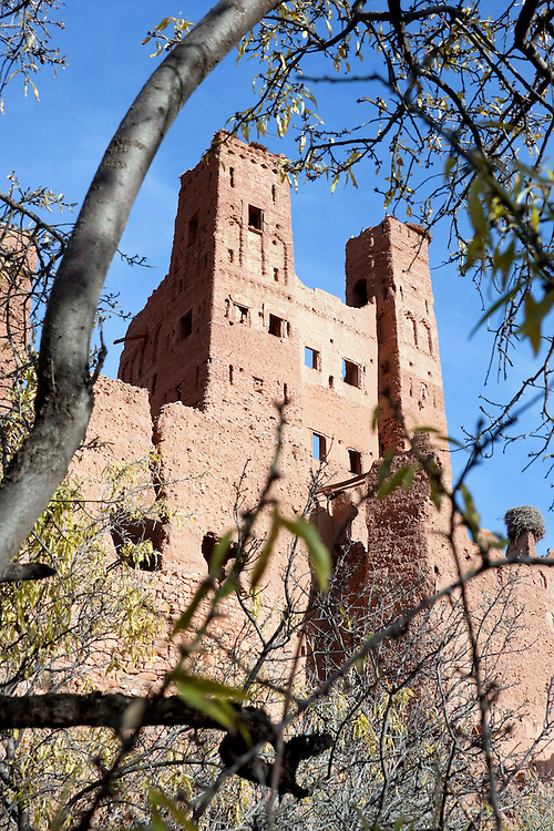 Kasbah Tamdaght with trees against blue sky.