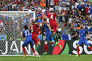 Portugal Defender Jose Fonte heads at goal during the Euro 2016 final between Portugal and France at Stade de France, Saint-Denis, Paris, France on 10 July 2016. Photo by Phil Duncan.