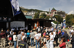 The crowds watching the four Skippers line up for the semi-final press conference. Photo:Chris Davies/WMRT