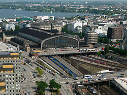Cityscape of city of Hamburg with central railway station or Hauptbahnhof in Germany