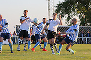 Steve May of Worthing shots at goal before the FA Vase 1st Qualifying Round match between Worthing United and East Preston FC at the Robert Eaton Memorial Ground, Worthing, United Kingdom on 6 September 2015. Photo by Phil Duncan.