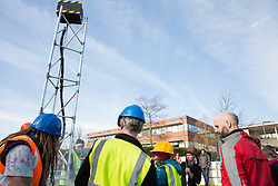 Windsor, UK. 22nd February, 2019. Around 60 campaigners from Reclaim the Power and Fuel Poverty Action experience an environmental disaster from a mock fracking site set up during a family-friendly protest outside the headquarters of Centrica to call on the British multinational energy and services company to cease its support for fracking operations through its partnership with shale gas company Cuadrilla Resources.