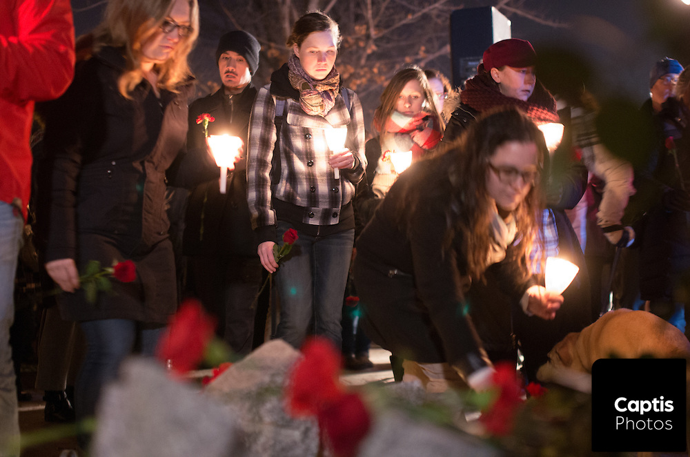 A vigil in Ottawa for the Ecole Polytechnique massacre that took place in Montreal, Quebec.