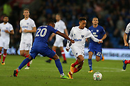 Kyle Bennett of Portsmouth © goes past Loic Damour of Cardiff city (20).  Carabao Cup, 1st round match, Cardiff city v Portsmouth at the Cardiff city Stadium in Cardiff, South Wales on Tuesday August 8th 2017.<br /> pic by Andrew Orchard, Andrew Orchard sports photography.