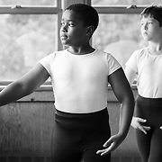 Dance majors from left: Alan Williams, 12, of New Jersey and Dominic Feder Di Toro, 12, of Washington DC, pose for a portrait inside the The Hildegarde Lewis Dance Building at Interlochen Center for the Arts in Interlochen, Michigan.
